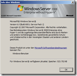 Versionsinformation Windows Server 2008 RTM